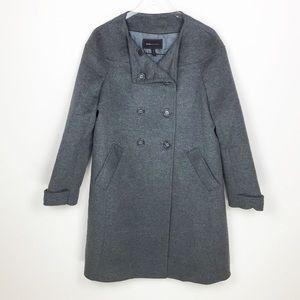 BCBGMAXAZRIA Wool Nylon Bld Grey Trench Coat
